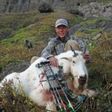 <h5>2014</br>Zach's Archery Goat</br>Solo Hunt</br>Nice Work, Zach!  </h5>